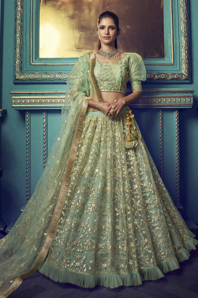 Buy Net Zari Work Lehenga Choli In Light Green