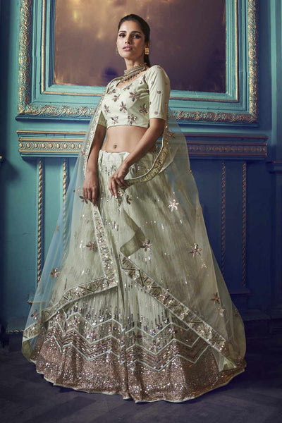 Buy Net Zari Work Lehenga Choli In Pastel Green