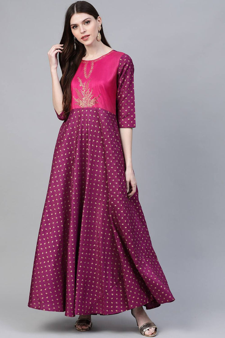 Buy Women's Poly Silk Printed Kurta in Purple