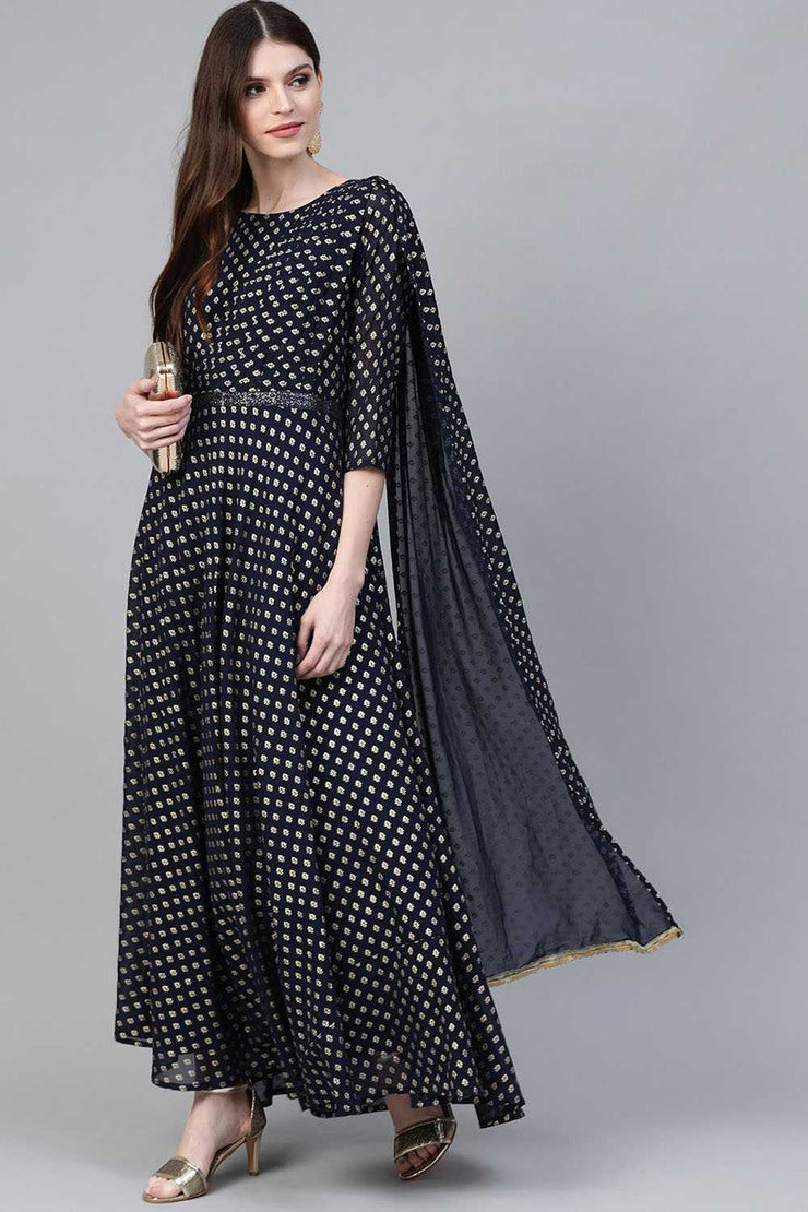 Buy Women's Faux Georgette Printed Kurta in Navy Blue