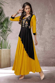 Buy Women's Rayon Thread Embroidery Kurta in Mustard Yellow and Black