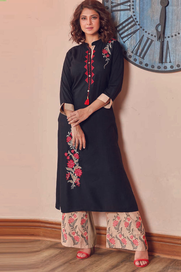 Rayon Embroidered Kurta Set in Black
