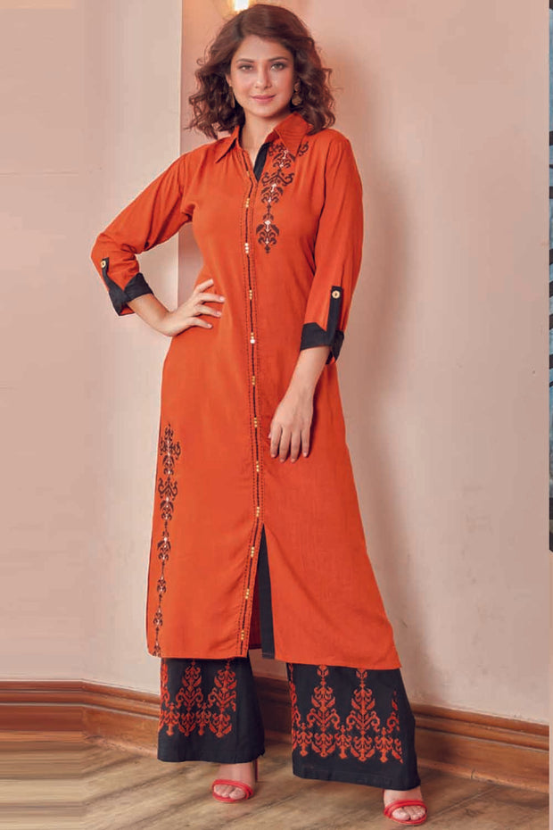 Rayon Embroidered Kurta Set in Orange