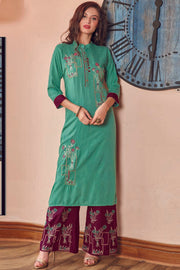 Rayon Embroidered Kurta Set in Aqua Green