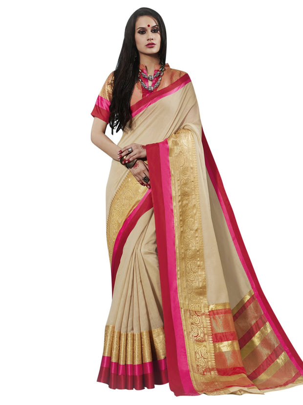 Stylee Lifestyle Women's Cotton Zari Saree in Neutral