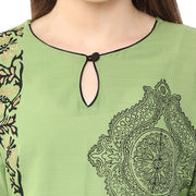 Blended Cotton Printed Kurta in Green