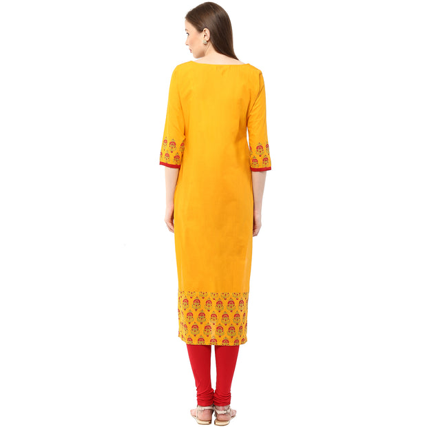 Blended Cotton Embroidered Kurta in Mustard