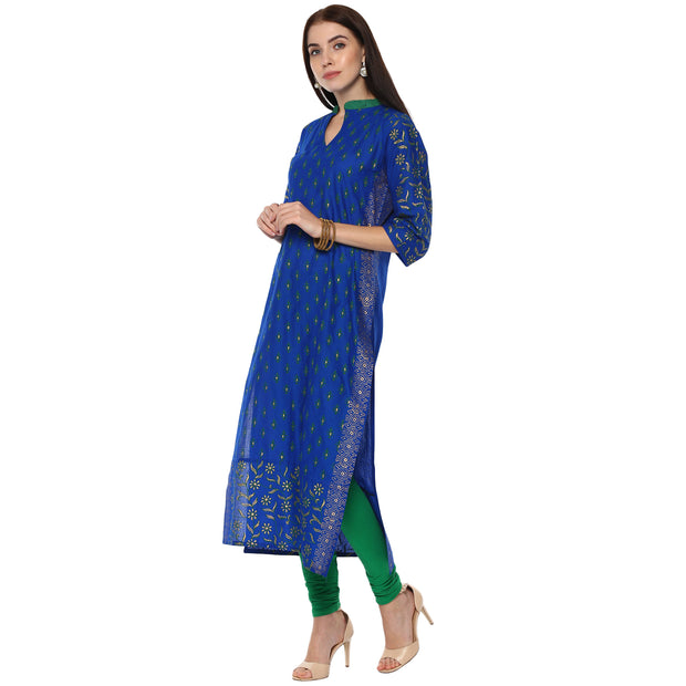 Blended Cotton Printed Kurta in Blue