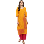 Blended Cotton Printed Kurta in Mustard