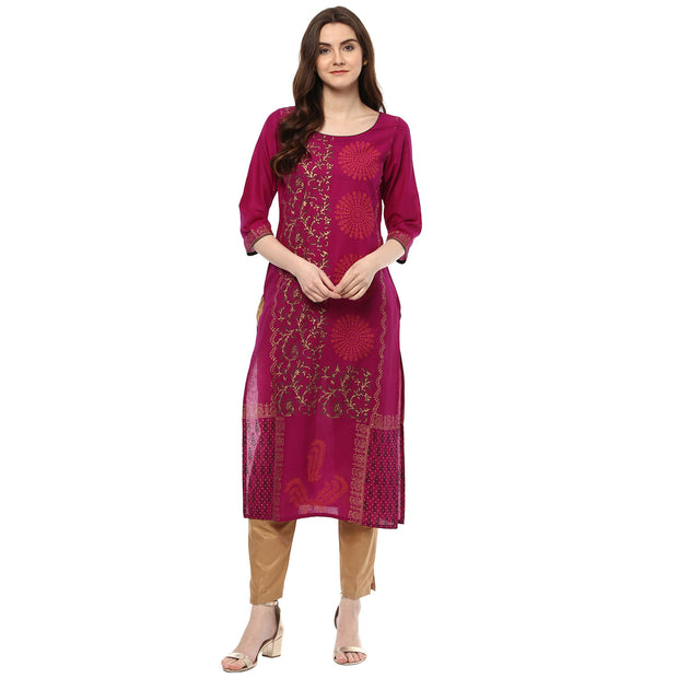 Blended Cotton Printed Kurta in Purple