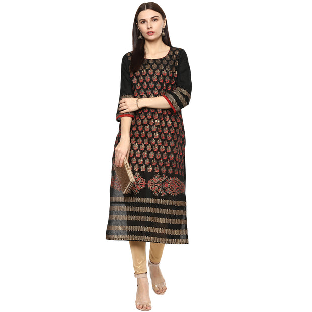 Blended Cotton Printed Kurta in Black