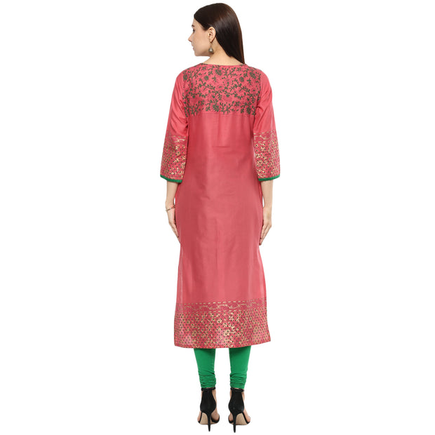 Blended Cotton Printed Kurta in Pink