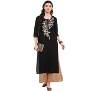 Blended Cotton Embroidered Kurta in Black