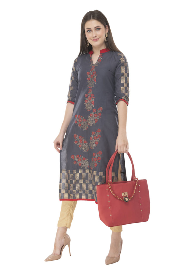 Blended Cotton Block Prints Kurti in Gray