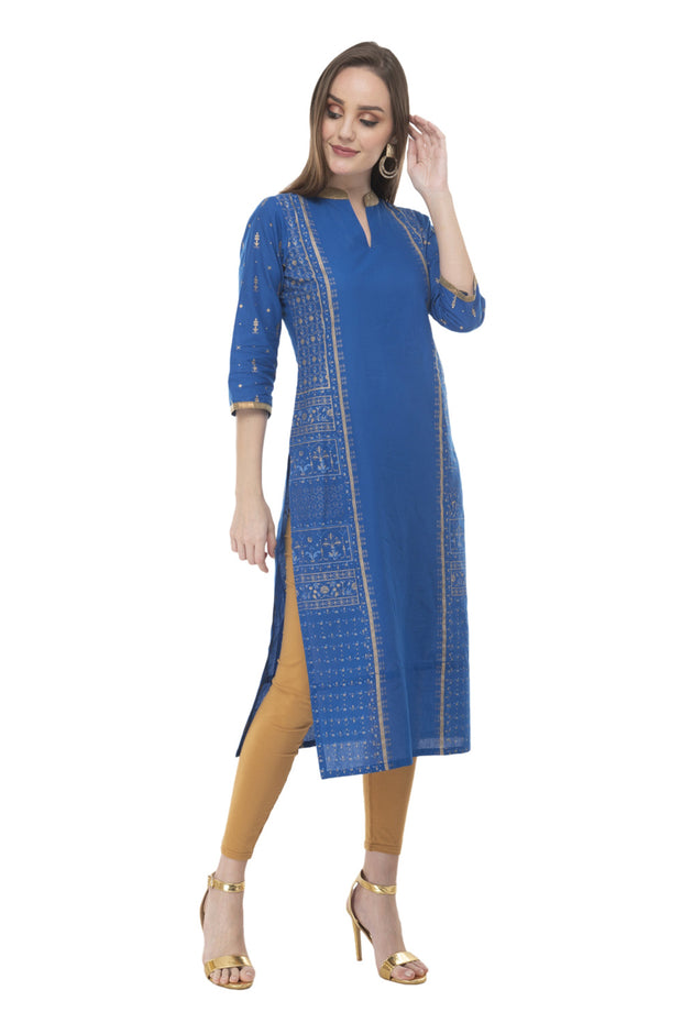 Blended Cotton Block Prints Kurti in Blue