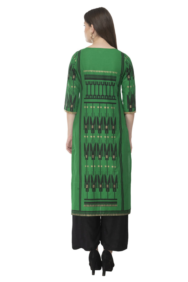 Blended Cotton Block Prints Kurti in Green