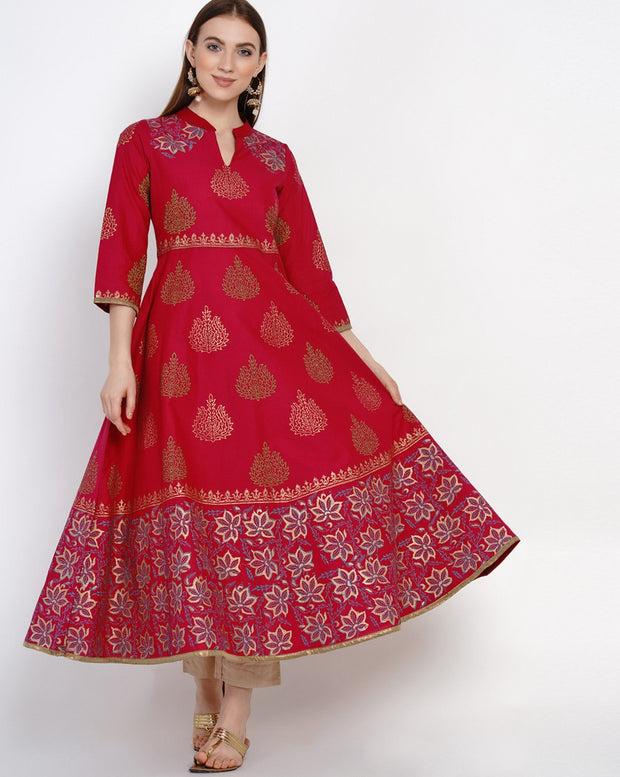 Buy Blended Cotton Block Print Anarkali Kurta In Magenta