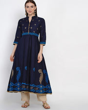 Buy Blended Cotton Block Print Anarkali Kurta In Blue