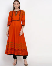 Buy Blended Cotton Block Print Anarkali Kurta In Orange