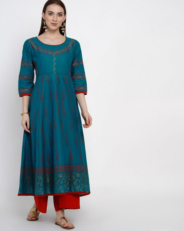 Buy Blended Cotton Block Print Anarkali Kurta In Green