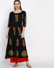 Buy Blended Cotton Block Print Anarkali Kurta In Black