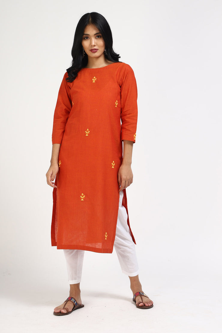 Blended Cotton Straight Kurta in Rust