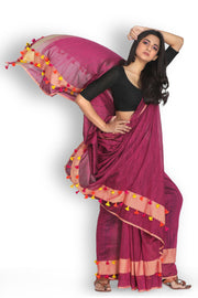 Cotton Plain Saree in Maroon