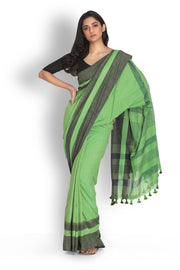 Khadi Plain Saree in Fern green