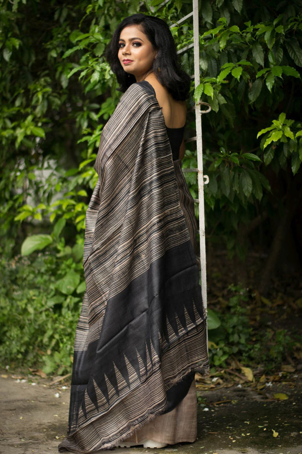 Silk Block Print Saree in Gray and Black
