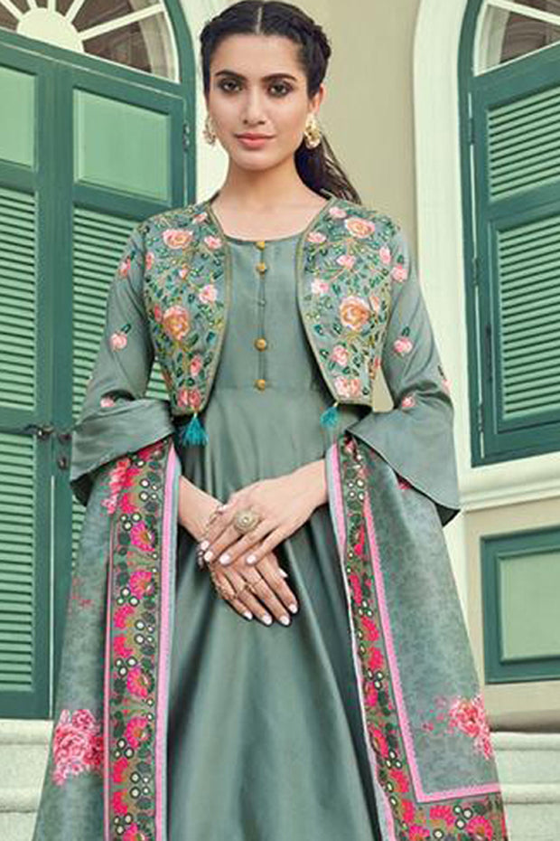 Art Silk Embroidered Anarkali Suit in Grey