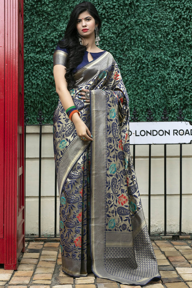 Buy Banarasi Art Silk Woven Saree In Dark Beige