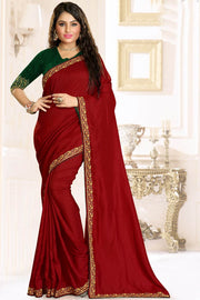 Buy Raw Silk Embroidery Saree in Dark Red