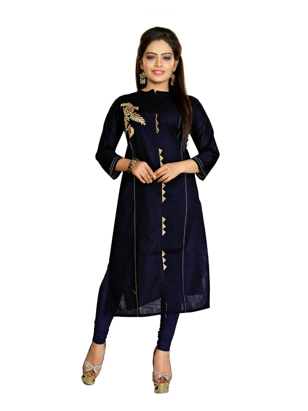 Atool Women's Cotton Patch Work Kurti in Royal Blue