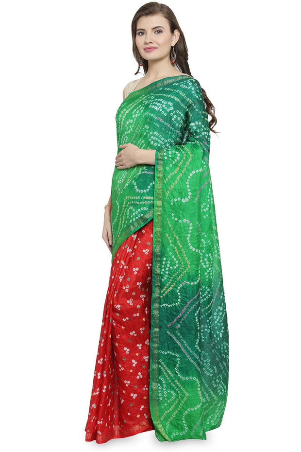 Geroo Jaipur Art Silk Saree in Green and Red