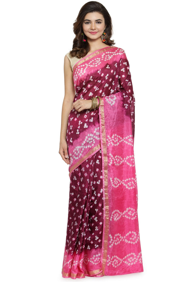 Art Silk Printed Saree in Purple and Pink