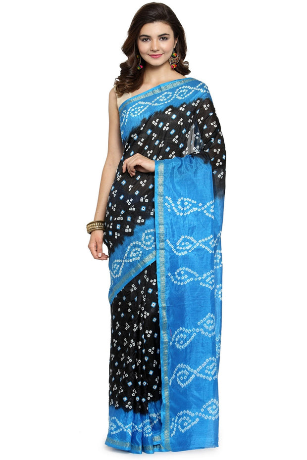 Art Silk Printed Saree in Blue and Black