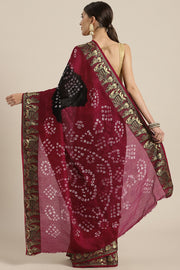 Art silk Tie Dye Saree in Black