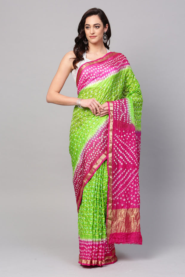 Geroo Jaipur Art Silk Saree in Green