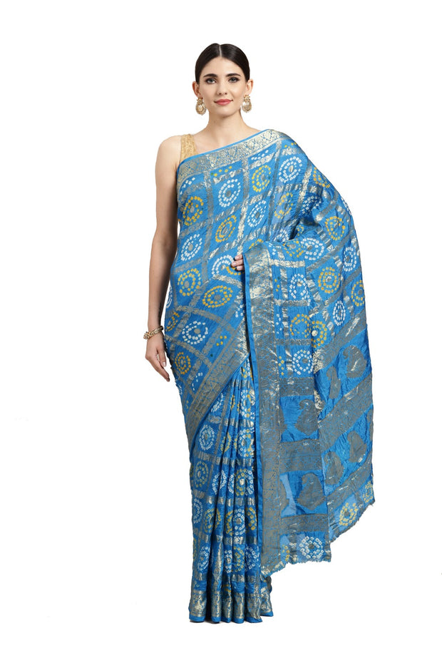 Art Silk Zari Saree in Sky Blue