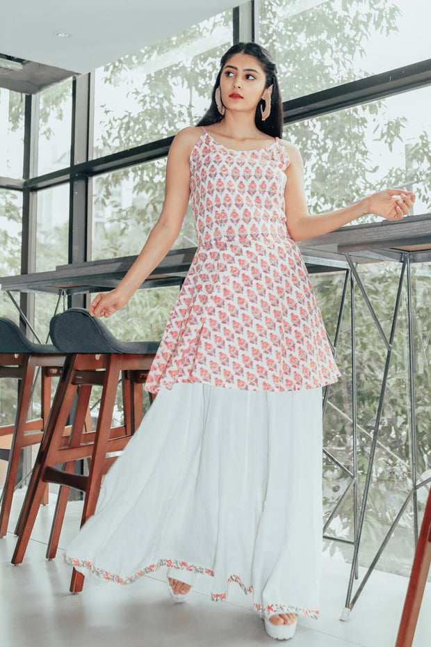 Blended Cotton Printed Dress in Pink