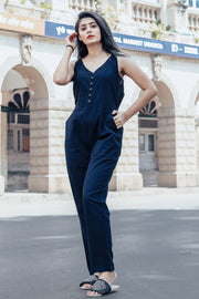 Blended Cotton Printed Jumpsuit in Blue