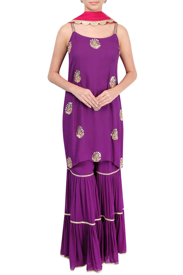 Georgette Embroidered Suit Sets in Purple