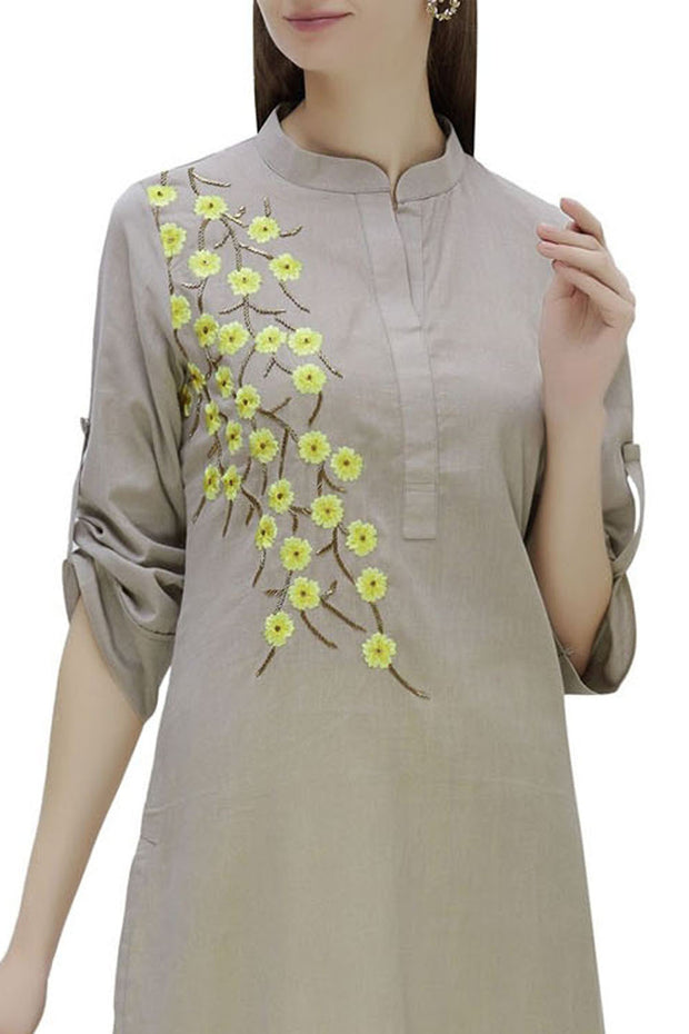 Rayon Embroidered Kurta Set in Grey