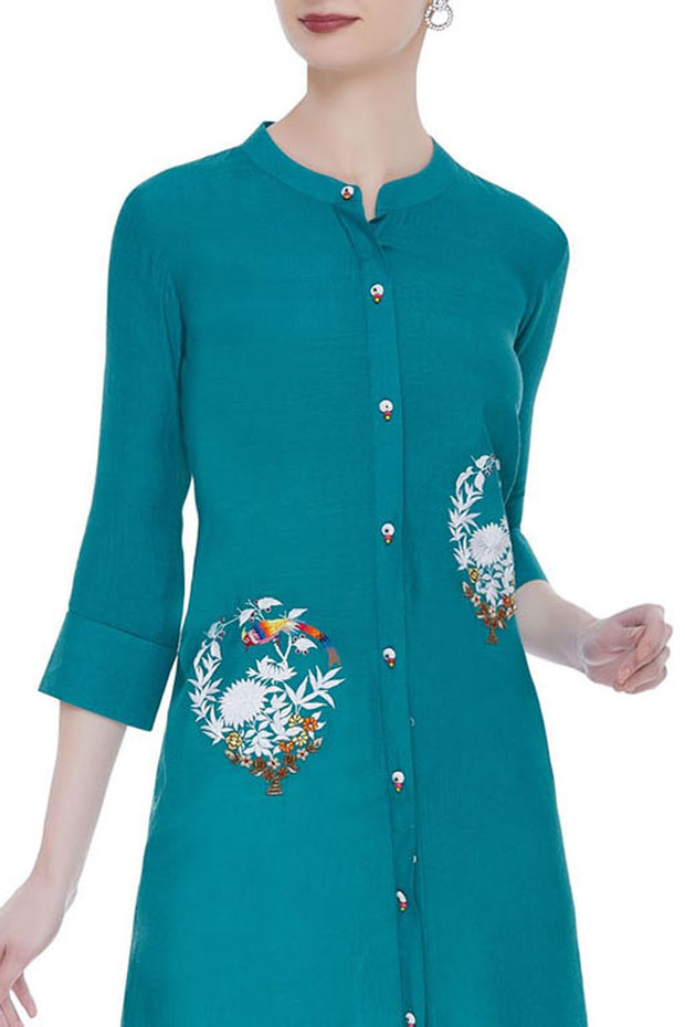 Silk Embroidered Kurta Set in Teal Blue