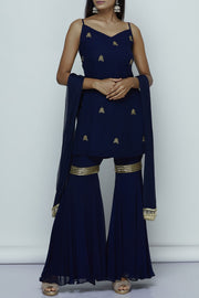 Georgette Embroidered Suit Sets in Blue