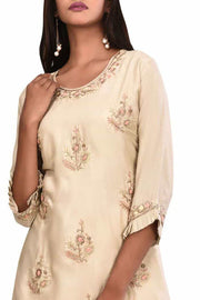 Silk Embroidered Kurta Set in Beige