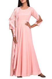 Silk Solid Suit Sets in Pink