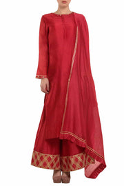 Chanderi Solid Suit Sets in Red