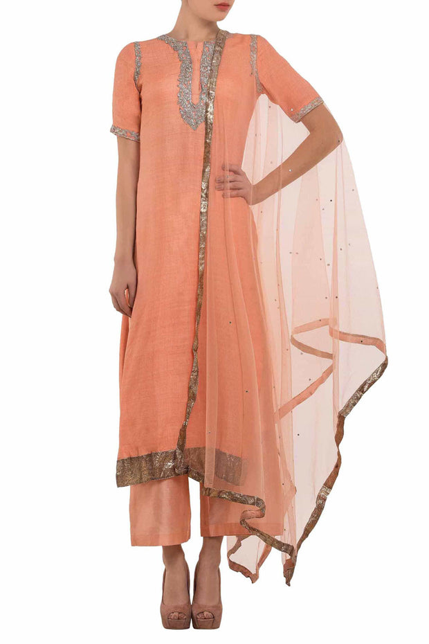 Chanderi Embroidered Suit Sets in Peach