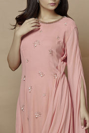 Georgette Embroidered Kurta Set in Pink
